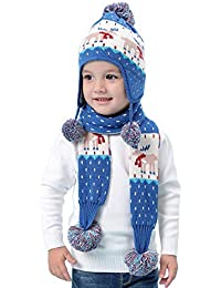 Baby Kinder Stricke Mütze Schal 2er Pack Set Weihnachten Auflage Jungen Mädchen 6 Monate bis 8 Jahre Winter Thermal Pom Pom Beanie Hut Strickmütze Halstücher Cartoon