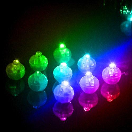 Hinmay 10 Stück LED Ballon, für Party, Halloween, Dekoration, Licht, Runde Kugel, LED-Ballons, Mini-Flash-Lampen, Laterne, Hochzeit, Party-Dekoration, Mehrfarbig, Free Size