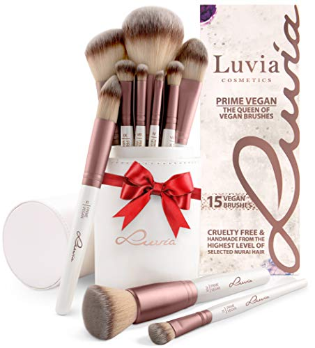 Luvia Pinselset Make-Up, Beauty Brush-Set Prime Vegan, Schminkpinsel Inkl. Edlem Pinselhalter & Satin Tasche