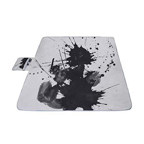 Abstrakte Kunst Handgemalt von Pinselstrichen auf Papier Picknickmatte 57 \'\' x 79 \'\' (140cmx200cm) Picknickdecke Strandmatte mit wasserdichter für Kinderpicknickstrände und gefaltete Tasche im Freien