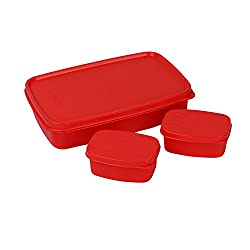 Cello Max Fresh Compact Polypropylene Lunch Box Set, 100ml/22.3cm, Set of 3, Red
