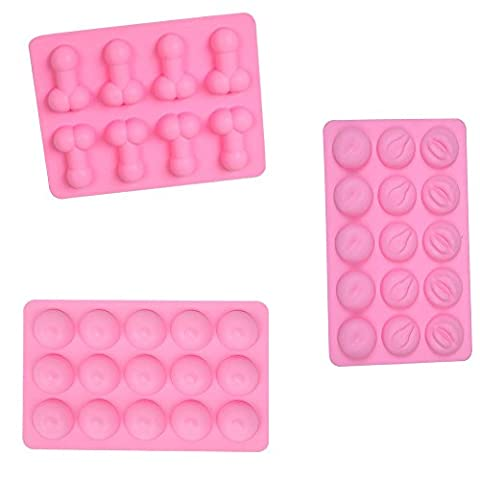 LYXY 3 Sets Ensemble Novelty Funny Party Favors pénis en silicone souple Breast Lips butt Ice Cube Tray Stag