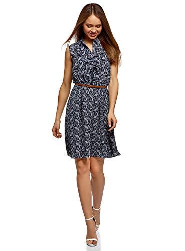 Damen Kleid Outfit (oodji Collection Damen Kleid aus Fließendem Stoff mit Rüschen, Blau, DE 44 / EU 46 / XXL)
