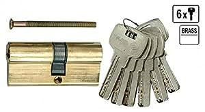 Verrou cylindre de porte Verrou de sécurité 67mm 6x Clé 31/36laiton