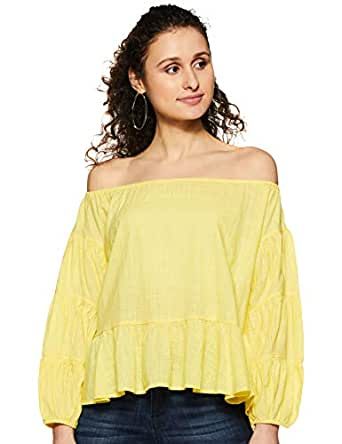 Amazon Brand - Symbol Women's Plain Loose Fit Top (SS18SYMWBL081-Lemon-XS)