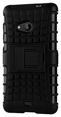 Qzey Tough Hybrid Flip Kick Stand Spider Hard Dual Shock Proof Rugged Armor Bumper Back Case Cover For Nokia Lumia 535 - Rugged Black  available at amazon for Rs.185