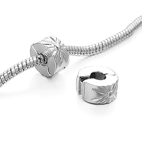 Rubyca Stopper en couleur argent Fermoir Perles Charm pour bracelet Chaîne serpent européen, Cuivre, Model 083 Silver Plated, 20 PCS