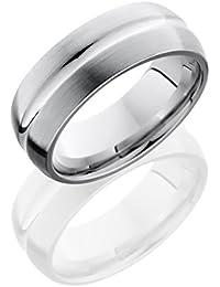 SlipRock Cobalt Chrome, Satin Finish Wedding Band High Polish Concave Center (sz H to Z1)