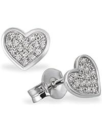 Goldmaid - He O5571WG - Boucles d'oreille Femme - Coeur - Or Blanc 585/1000 (14 Cts) 1.1 Gr - Diamant