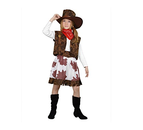 Imagen de disfraz de vaquera marrón y blanco en varias tallas para niña