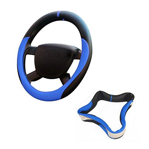 Preisvergleich Produktbild HX-507 36CM Lenkradbezug Mikrofaser-Leder /Xfay lenkradbezug, Lenkradhülle Echtes Mikrofaser-Leder /Universal Lenkradhülle aus echtem Mikrofaser-Leder,-Blau+schwarz