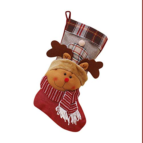 Weihnachtsstrümpfe Socken Nikolausstiefel Weihnachtssocken Süßigkeits Socke Geschenkbeutel für Kinder mit Santa Schneemann Weihnachtsbaumschmuck Anhänger für Cafe, Büro, Laden