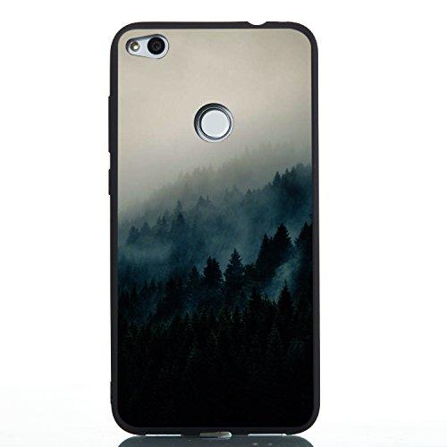 Coque Huawei P8 Lite 2017,Coffeetreehouse Motif soft coloré de estampé Noir mince TPU Fantaisie Effet relief Ultra Mince Anti-Rayures Antichocs Case Housse pour Huawei P8 Lite 2017(Forêt brumeuse)