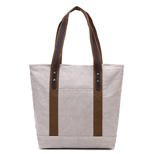Mefly Una Spalla Borsa Di Tela Grande Capacità Shopping Bag Borsa Di Tela Caffè Beige