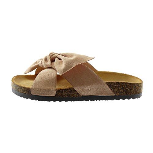 Angkorly Scarpe Moda Sandali Mules Slip-On Donna Nodo Sughero Tacco Zeppa 2.5 cm Rosa chiaro