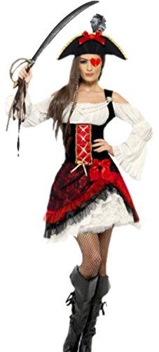 raten Seeräuberin Outfit Kostüm mit Hut, S, Mehrfarbig (Jack Sparrow Stiefel)