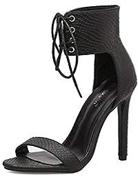 1630115e2c6 FELICIGG patrón de Piel de Serpiente Sra Sandalias de tacón Alto con Tiras  Delgadas Abierta con Punta de Zapatos…