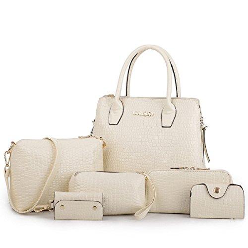 HAOYUXIANG Fashion Handbags Di Cuoio Di Sei Pezzi Di Temperamento Di Alta Qualità,MilkyWhite MilkyWhite