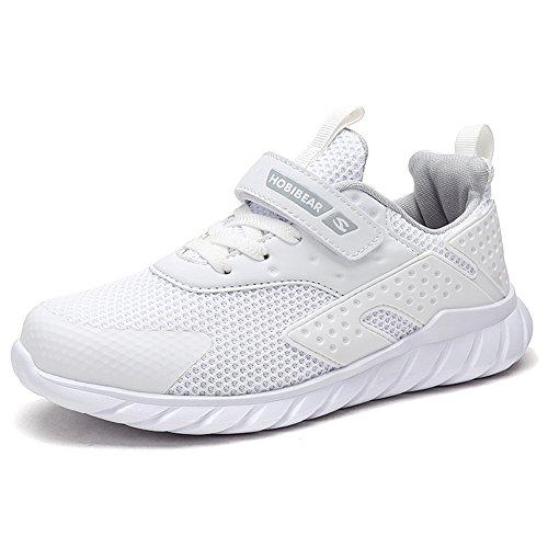 XIAO LONG Turnschuhe Kinder Sneaker Jungen Sportschuhe Mädchen Hallenschuhe Outdoor Laufschuhe Für Unisex-Kinder, Weiß, EU27/CN28