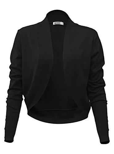 MUXXN Damen Retro Freizeit Party Strickjacke Casual Taste Strickjacken Langarm Jäckchen(L, Black) (Taste Zucken)