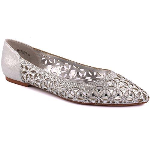 Unze Ritaglio nuove signore delle donne 'Emona' Progettato Diamante Impreziosito da sera, da sposa, da partito di promenade Slip-on scarpe piane Dimensioni 3-8 Argento