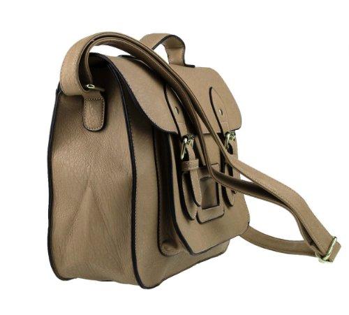 Elegante Damen Michael&Yang Aktentasche Vintage Umhängetasche Schultertasche Handtasche Tasche Shopper ital. Crossover (Soil) Soil