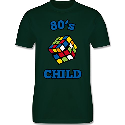 Shirtracer Statement Shirts - 80's Child - Zauberwürfel - Herren T-Shirt Rundhals Dunkelgrün