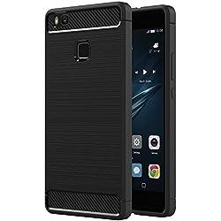 AICEK Coque Huawei P9 Lite, Noir Silicone Gel Etui Housse Huawei P9 Lite Souple Coque de Protection pour P9 Lite Fibre de Carbone Case(5.2 Pouces)