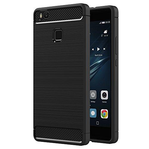 AICEK Huawei P9 Lite Hülle, Schwarz Silikon Handyhülle für Huawei P9 Lite Schutzhülle (5,2 Zoll) Karbon Optik Soft Case