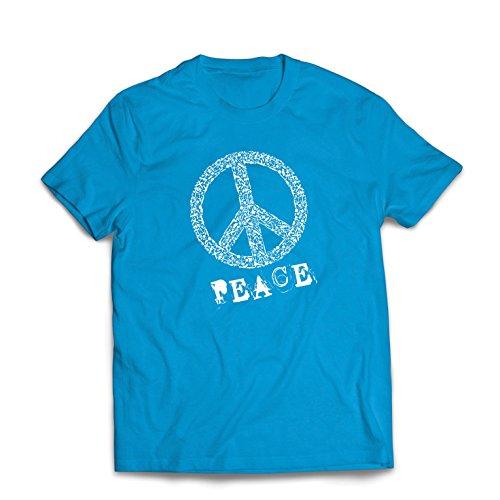 lepni.me Männer T-Shirt Peace Symbol 60er Jahre 70er Jahre Hippie-Festival, Zeichen der Freiheit (Medium Blau ()