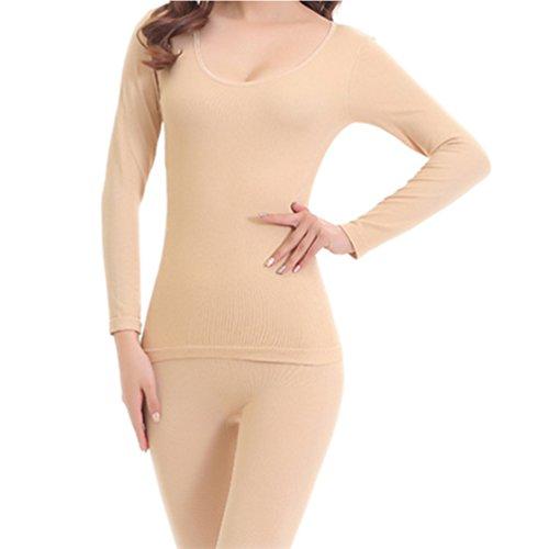 Samgoo Damen U Ausschnitt Stretch warm Langarmhemd Top & Bottom duennes Thermo-Unterwäsche Sets Fleischfarbe
