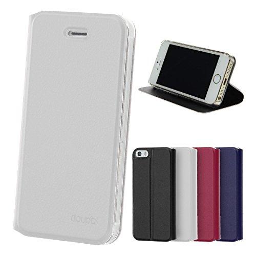 doupi Flip Cover pour iPhone 4 / 4S, Étui à Rabat Magnétique Coque Style Livre Protection Housse avec Support, Blanc