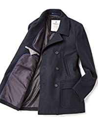 VEDONEIRE Mens Wool Pea Coat (3083 Navy) blue jacket blazer