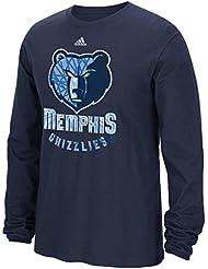 """Memphis Grizzlies Adidas NBA """"Cut The Net"""" Premium Print L/S Men's T-Shirt Chemise"""