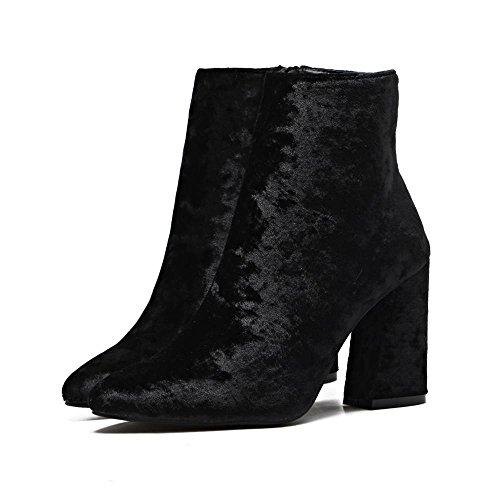 LvYuan-mxx Femmes bottes courtes / Gold velours / pointe pointu / Talon Chunky / chaussures à talons hauts / Bureau et Carrière / Robe / Casual BLACK-37