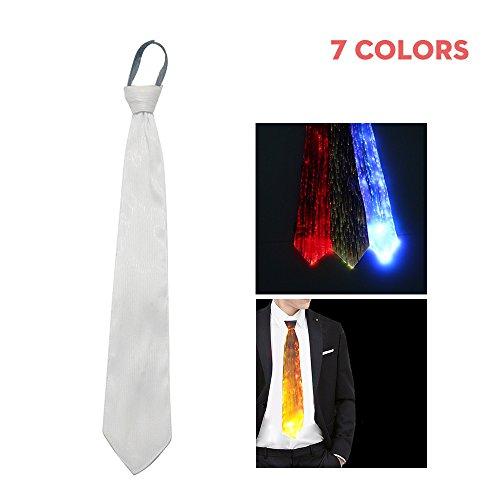 (Umiwe LED Tie, 7 Farbe Leuchtende leuchtende Leuchtende Krawatte mit USB Wiederaufladbare & Geschenktüte Sicher DJ Bee Rave Krawatte für Männer Frauen Weihnachten Halloween Party)