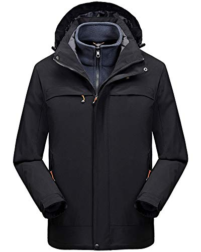 Cycorld Herren-Skijacke-Snowboardjacke, Mens Ski Jacket wasserdichte Winddichte Winter Skijacke Herren, 3 in 1 Skijacke Softshell Jacket mit Kapuze für Skiing (Schwarz-1, XL (Label= S (EU))
