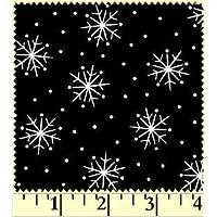Fat Quarter Christmas Classics fiocchi di neve su nero cotone tessuto