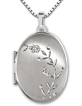 CLEVER SCHMUCK Silberner Anhänger Medaillon oval 21 mm seidenmatt mit verzierter Blumenranke diamantiert glänzend...