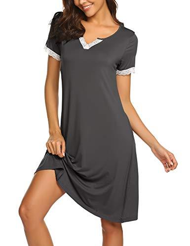 MAXMODA Nachthemden Nachthemd Nachtwäsche Damen Schlafshirt Nachtkleid Kurzarm Baumwolle Negligee Sexy Sleepshirt für Frauen -S