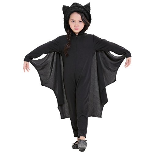 Aivtalk Kinder Batman Jumpsuit Jungen Mädchen Fledermaus Overall Cosplay Kostüm für Fasching Halloween Karneval Fastnacht Party Bühne Show Theater - Größe (Coole Kostüme Mädchen Cosplay Für)