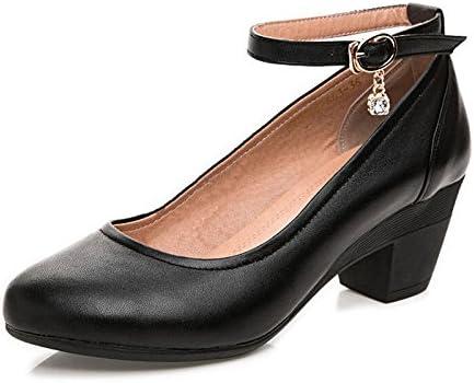 Zapatos De Cuero De Tacón Bajo De La Boda Ocio De La Señora Zapatos De Cuero Formales Mujeres Negro Cabeza Redonda