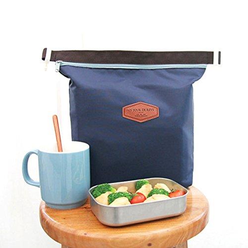 Clispeed Picknicktasche aus Nylon mit Reißverschluss Picknicktasche mit Thermotasche für Tasche (dunkelblau, zufällige Farbe)