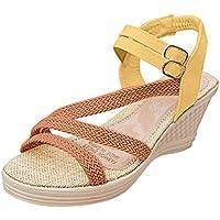 BIBOKAOKE Sandalias de Cuña para Mujer Hebilla de un Botón con Sandals Roman Estilo Bohemia Peep Toe Beach Shoes