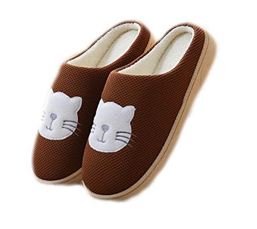 Auspicious beginning Chaussures doublées molletonnées confortables en peluche unisexe Chaussures mignonnes imprimées par chat Café