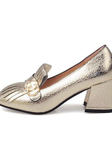 WSS 2016 Chaussures Femme-Habillé / Décontracté / Soirée & Evénement-Bleu / Jaune / Rouge / Argent / Or-Gros Talon-Talons / Bout Pointu / Bout yellow-us5 / eu35 / uk3 / cn34