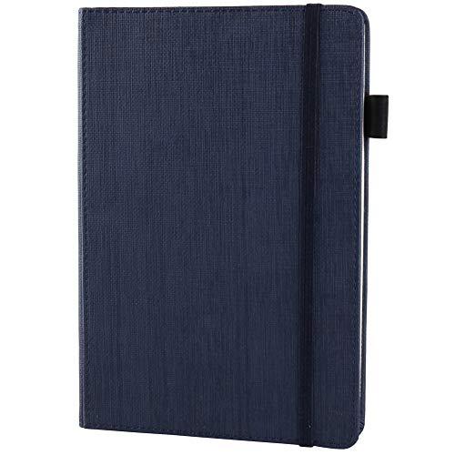 Notizbuch Liniert a5/Ruled Notebook,LUOLLOVE Hardcover Gefüttertes Notizbuch mit Elastischem Verschluss, Stifthalter, Marker-Band, 100g/m² Dickes Papier,Dunkelblau, 8.3 * 5.8 Inches -