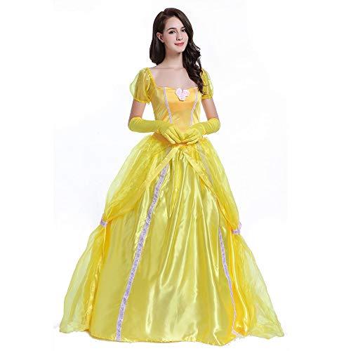 HYMZP Kostüm Damen, Halloween Erwachsene Sexy Belle Princess Kleid Beauty Und Das Biest Bell Cosplay Rock Mit Handschuhen, Karneval Maskerade Kostüme,L