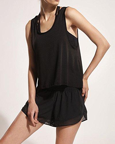Débardeur Sans Manches T-Shirt En Vrac Tanktop de Sport Femme Noir