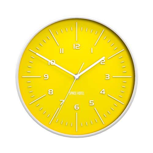 space hotel london® galaxy x, orologio da parete rotondo e silenzioso con quadrante colorato e cassa in bianco lucido. 30cm